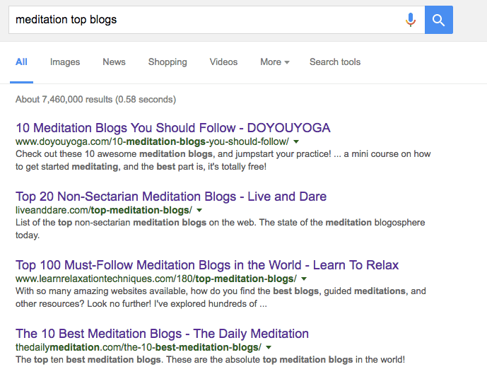 meditation blogs search